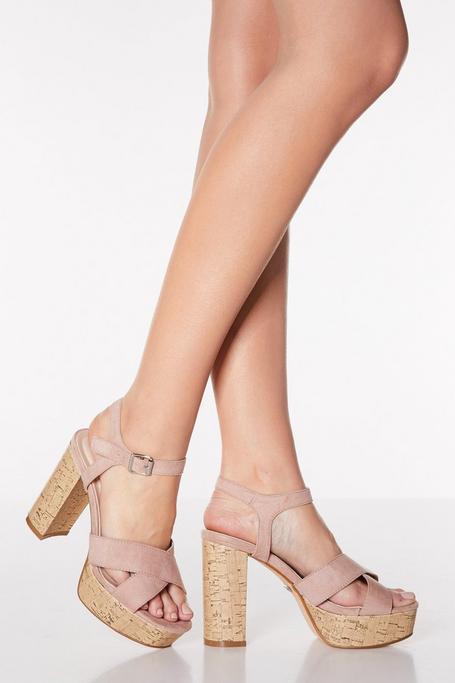 Sandalias de Tacón Grueso Rosa Palo