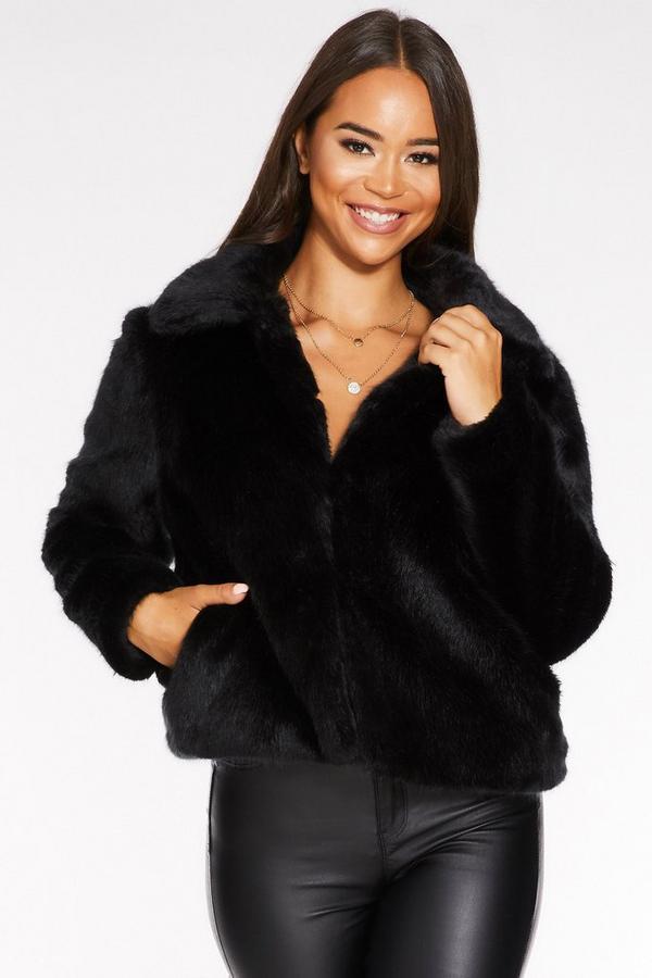 Black Short Faux Fur Collar Jacket