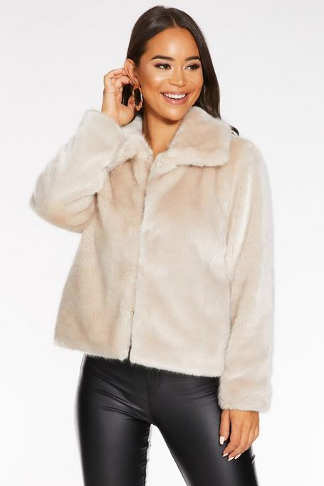 Stone Short Faux Fur Collar Jacket