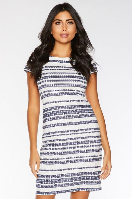 Navy and Cream Stripe Tunic Dress