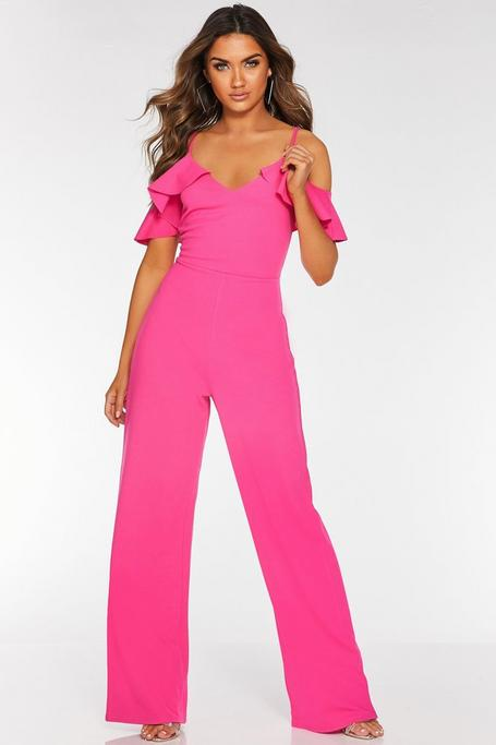 Hot Pink Frill Cold Shoulder Palazzo Jumpsuit