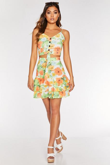 Orange and Green Chiffon Floral Skirt
