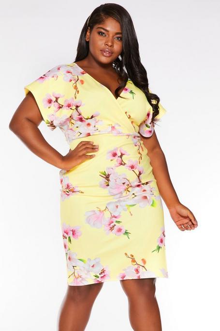 Plus Size Yellow Wrap Batwing Midi Dress