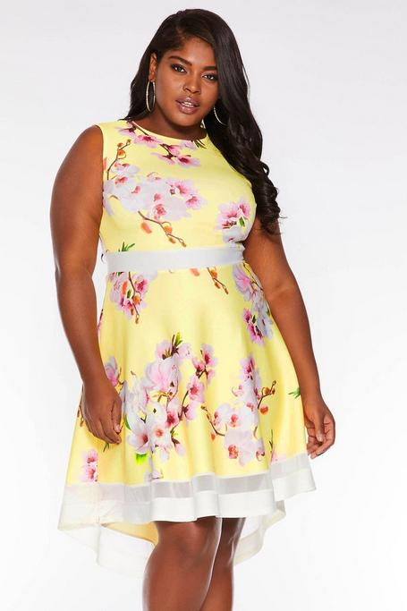 best authentic select for authentic order online Plus Size Yellow Floral Dip Hem Skater Dress - Quiz Clothing