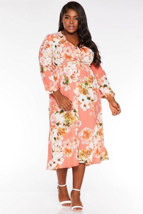Plus Size Coral Floral Wrap Front Midi Dress