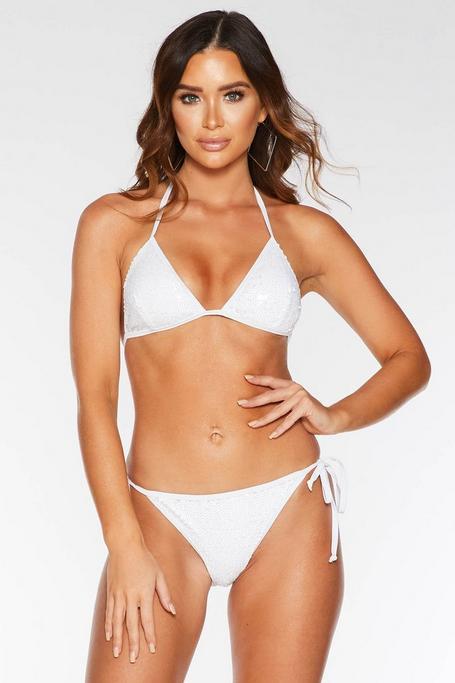 Top de Bikini Blanco con Lentejuelas