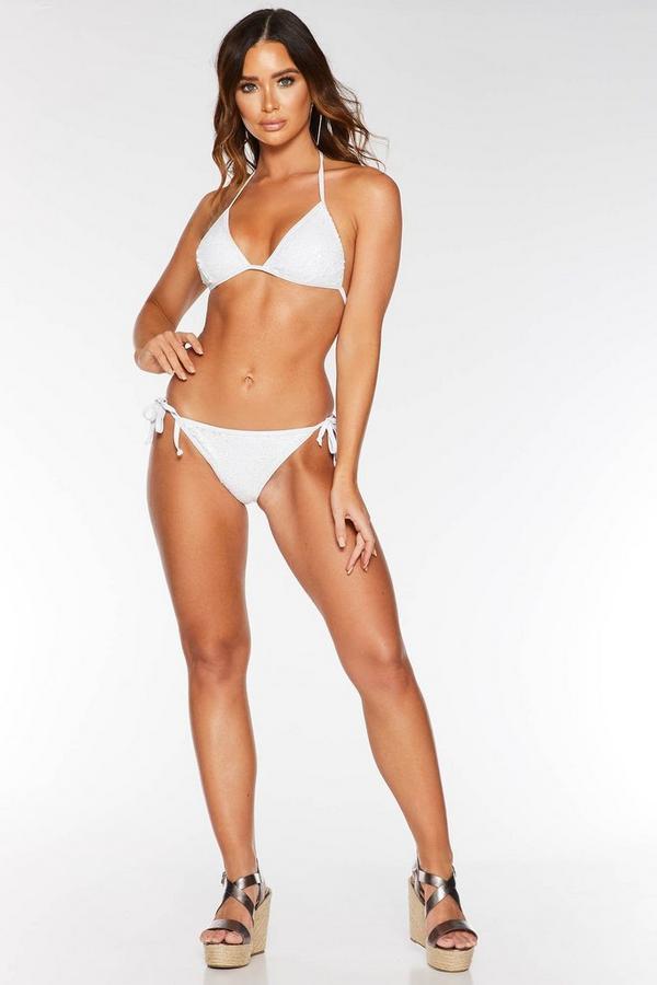 Braguita de Bikini Blanca con Lentejuelas