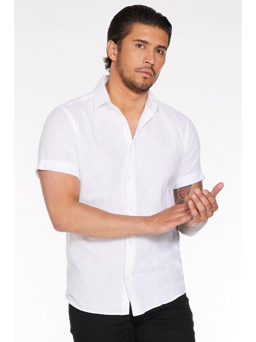Plain Short Sleeve Linen Shirt in White