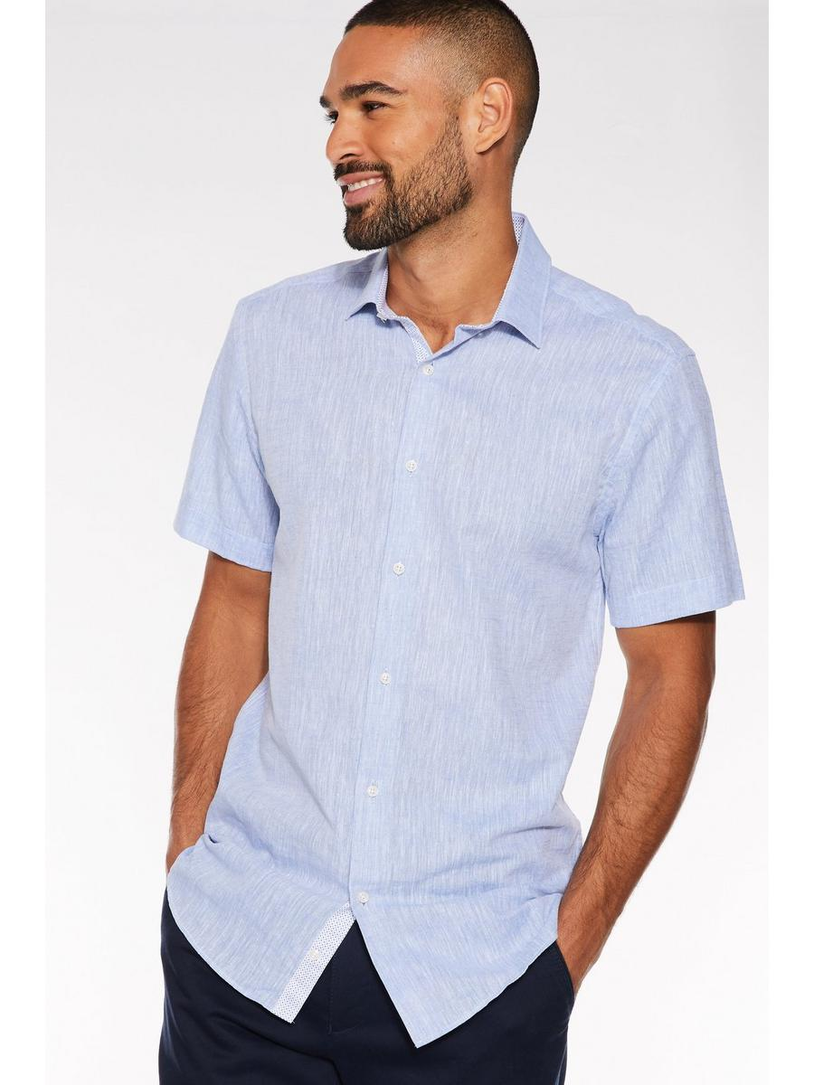 Plain Short Sleeve Linen Shirt in Blue