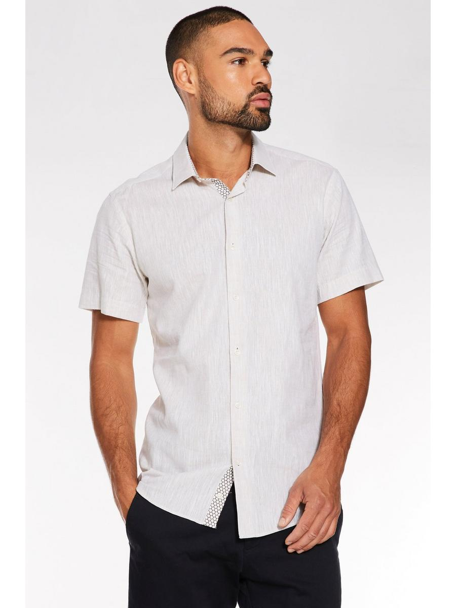 Plain Short Sleeve Linen Shirt in Stone