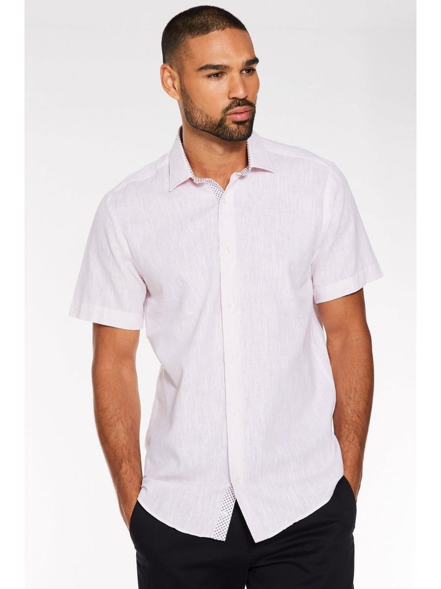 Plain Short Sleeve Linen Shirt in Pink