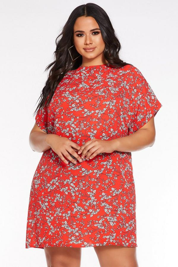 Plus Size Red and White Floral Print Tunic Dress