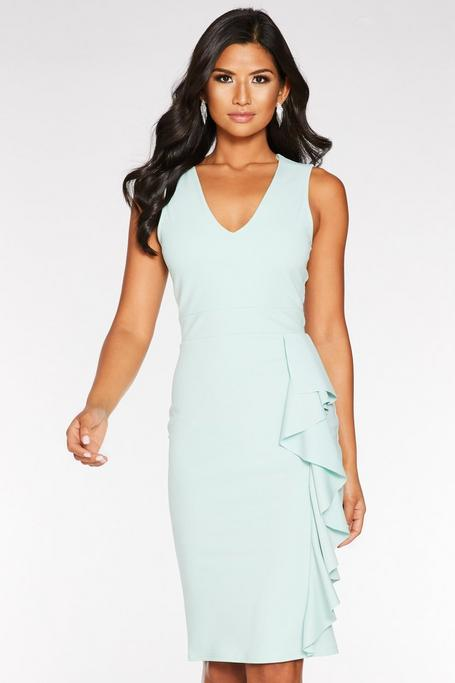 Mint V Neck Frill Midi Dress