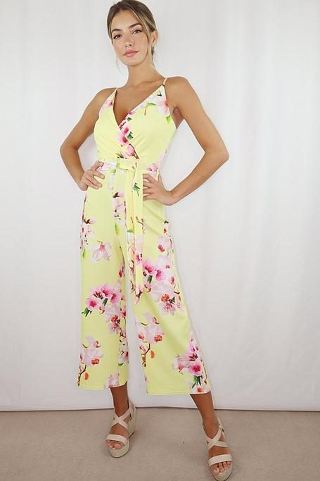 Yellow Floral Belted Culotte Jumpsuit