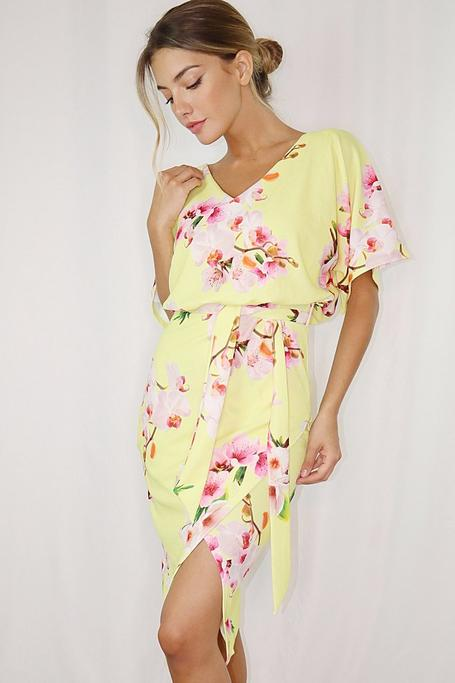 Sam Faiers Yellow and Pink Batwing Belted Midi Dress