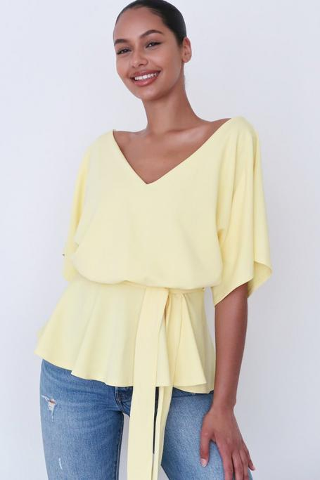 Yellow Batwing Peplum Top