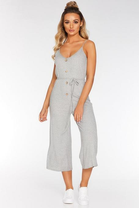 Gray Ribbed Tie Belt Culotte Jumpsuit