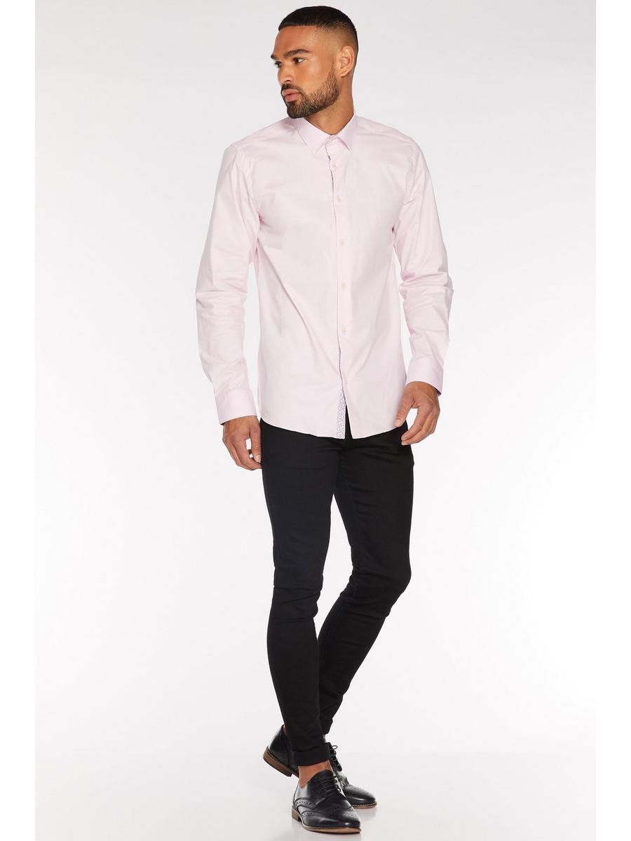Long Sleeve Plain Shirt in Pink
