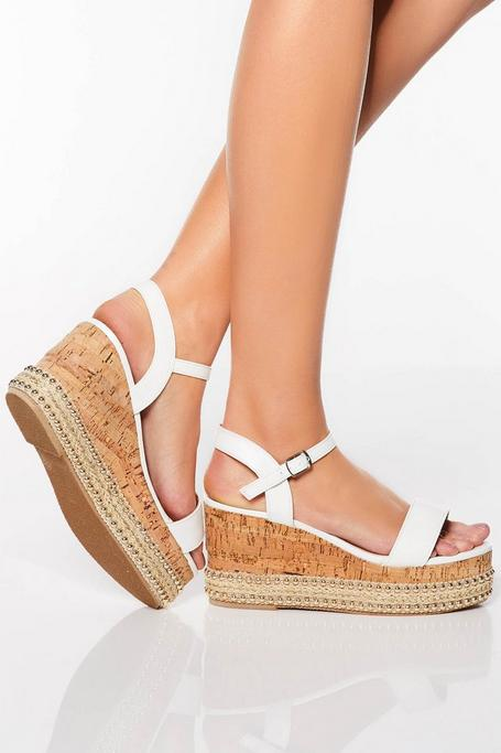 White Stud Trim Wedge Sandals