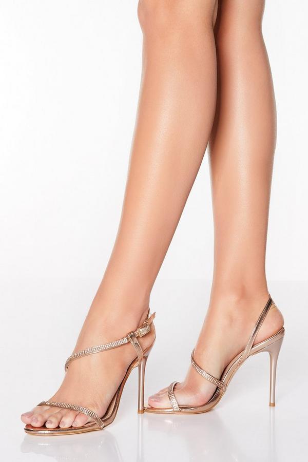 Sandalias de Tacón Oro Rosa Asimétricas