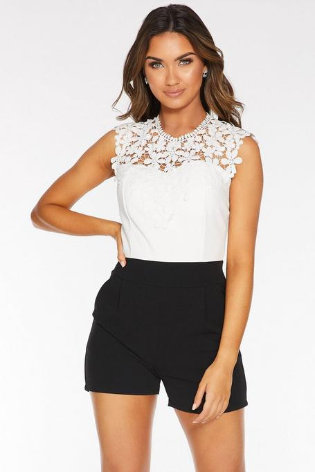 Black And White Lace Romper