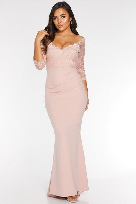 Petite Nude Off The Shoulder Lace 3/4 Sleeves Maxi Dress