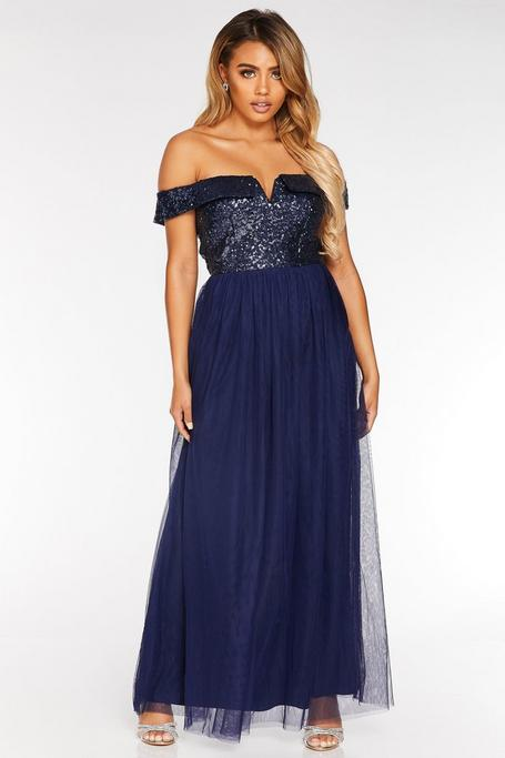 Petite Navy Sequin Bardot Maxi Dress