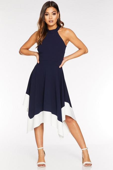 Navy And Cream High Neck Hanky Hem Dress