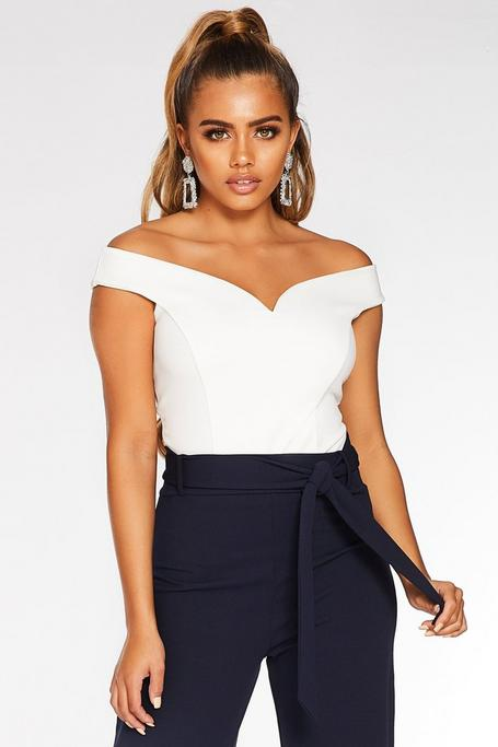 Petite Cream Off The Shoulder Bodysuit