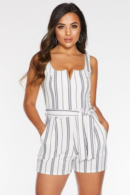 Petite White And Navy Striped V Bar Romper