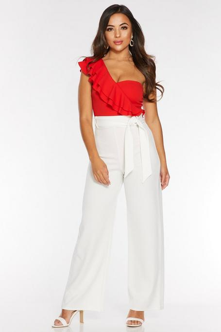 Petite Cream High Waist Tie Belt Palazzo Pants