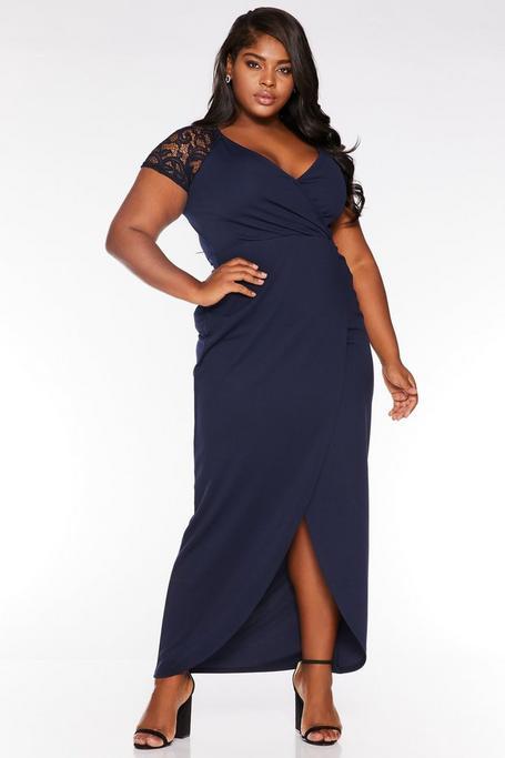 Plus Size Navy Cap Sleeve Wrap Maxi Dress