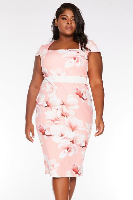 Plus Size Coral Floral Print Cap Sleeve Midi Dress