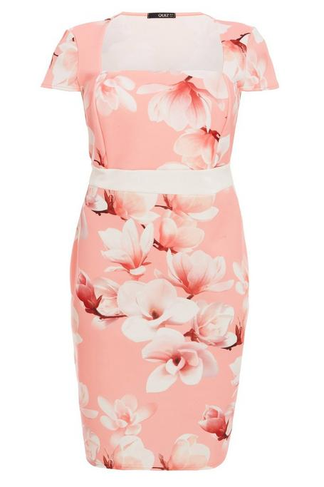 Plus Size Coral Floral Print Cap Sleeve Midi Dress