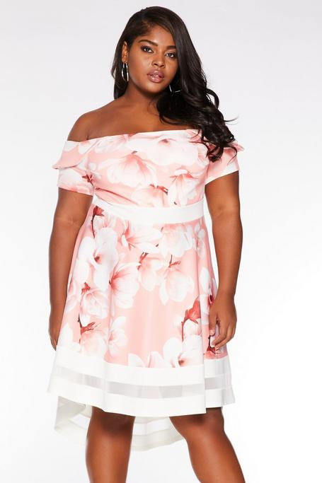 Plus Size Coral Floral Bardot Dip Hem Dress