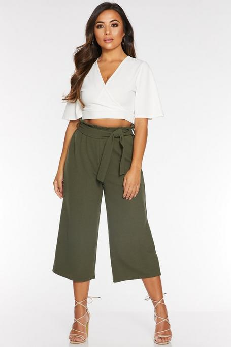 Petite Khaki Paper Bag Culotte Pants