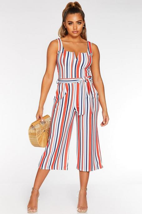 Petite White Red and Blue Culotte Jumpsuit