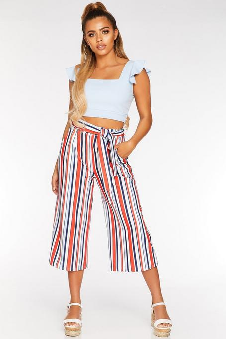 Petite White Red and Blue Stripe Culotte Pants