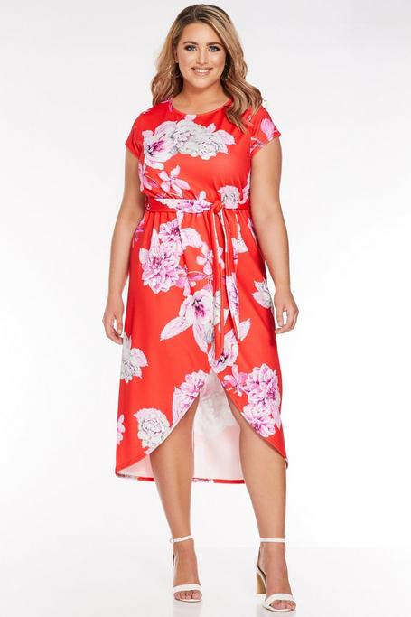 Plus Size Red Floral Print Wrap Dress