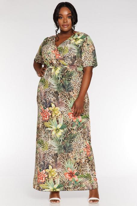 Vestido Curve Largo con Estampado Floral y de Leopardo