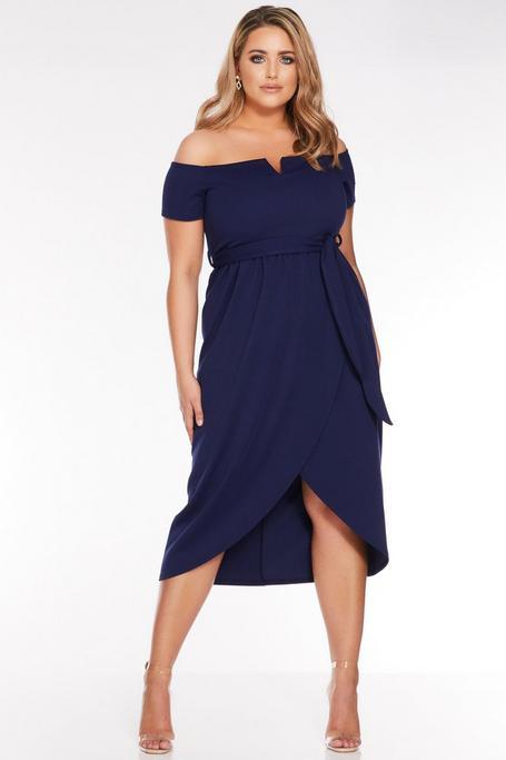 Vestido Curve Azul Marino con Escote Bardot