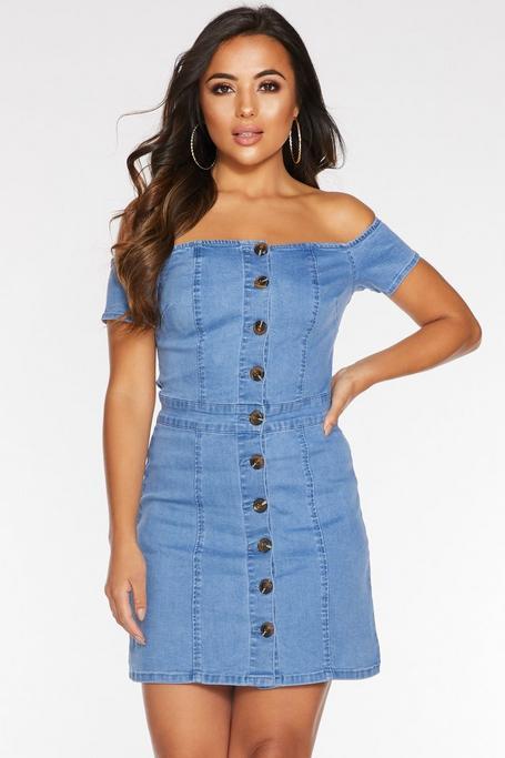 Petite Light Blue Denim Bardot Button Dress