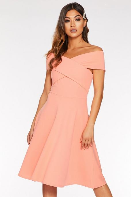 Coral Off The Shoulder Wrap Midi Skater Dress