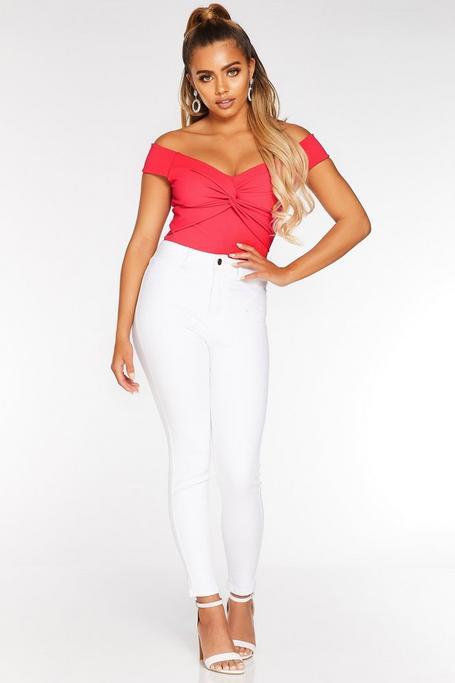Petite White Denim High Waist Jeans