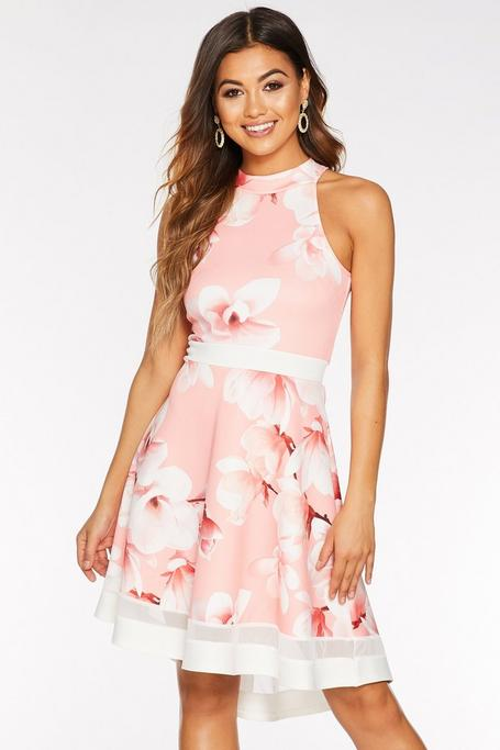 Coral And Cream Floral High Neck Dip Hem Dress