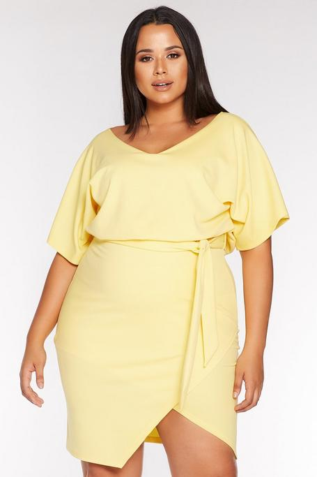 Plus Size Yellow V Neck Batwing Wrap Midi Dress