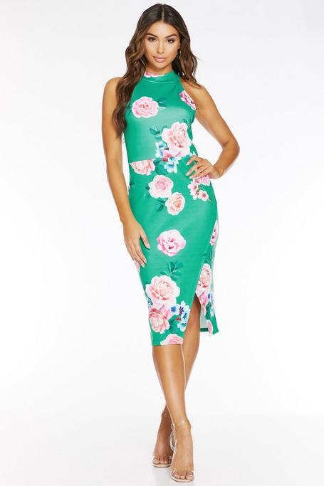 Jade And Pink Floral Print Midi Dress