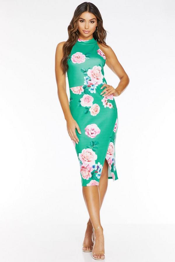 Vestido Ajustado Floral Verde y Rosa