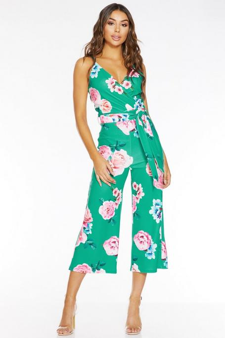 Mono Culotte Floral Verde y Rosa