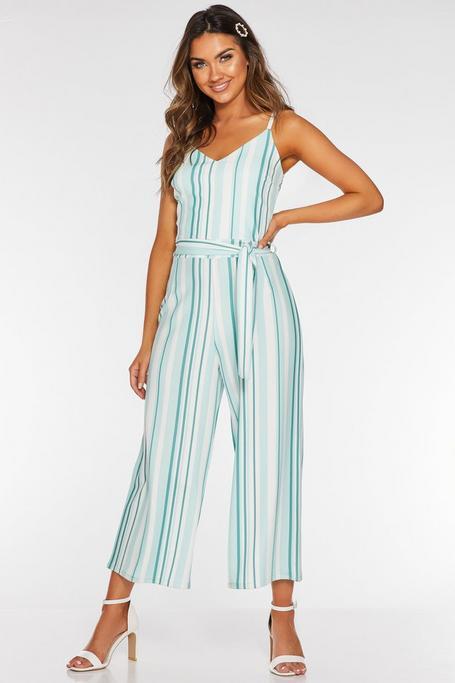 Mint And Cream Stripe Culotte Jumpsuit